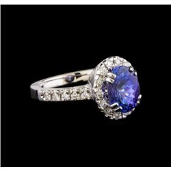 14KT White Gold 2.95 ctw Tanzanite and Diamond Ring