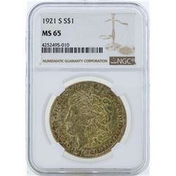 1921-S $1 Morgan Silver Dollar Coin NGC MS65
