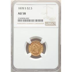 1878-S $2.5 Liberty Head Quarter Eagle Coin NGC AU58