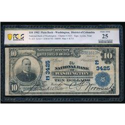 1902 $10 Washington DC National Bank Note PCGS 25