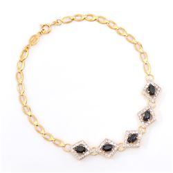 Plated 18KT Yellow Gold 3.05ctw Black Sapphire and Diamond Bracelet