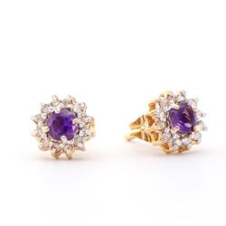 Plated 18KT Yellow Gold 0.42ctw Amethyst and Diamond Earrings