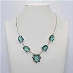 Lab Created Beautiful 68.2 Ct Paraiba Tourmaline Necklace