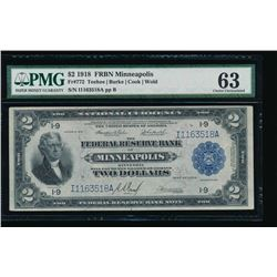 1918 $2 Minneapolis Federal Reserve Bank Note PMG 63