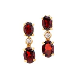 Plated 18KT Yellow Gold 2.50ctw Garnet and Diamond Earrings