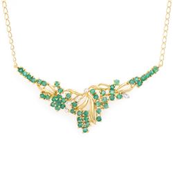 Plated 18KT Yellow Gold 2.55ctw Emerald and Diamond Pendant with Chain