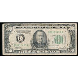 1934 $500 Chicago Federal Reserve Note