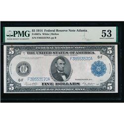 1914 $5 Atlanta Federal Reserve Note PMG 53