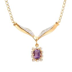 Plated 18KT Yellow Gold 0.80ct Amethyst and Diamond Pendant with Chain