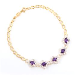 Plated 18KT Yellow Gold 2.05ctw Amethyst and Diamond Bracelet