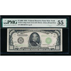 1934 $1000 New York Federal Reserve Note PMG 55