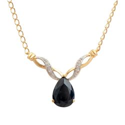 Plated 18KT Yellow Gold 6.05ct Black Sapphire and Diamond Pendant with Chain