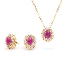 Plated 18KT Yellow Gold 2.80ctw Ruby and Diamond Pendant with Chain and Earrings