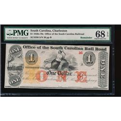 1800's $1 Charleston Rail Road Note PMG 68EPQ
