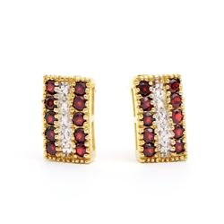 Plated 18KT Yellow Gold 1.02ctw Garnet and Diamond Earrings