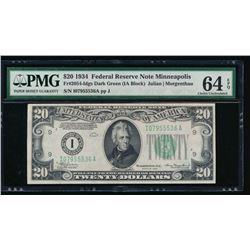 1934 $20 Minneapolis Federal Reserve Note PMG 64EPQ