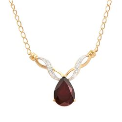 Plated 18KT Yellow Gold 3.75ct Garnet and Diamond Pendant with Chain