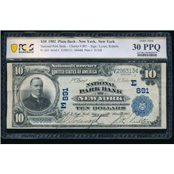 1902 $10 New York NY National Bank Note PCGS 30PPQ