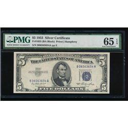 1953 $5 Silver Certificate PMG 65EPQ