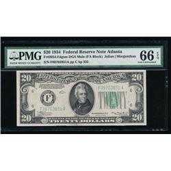1934 $20 Atlanta Federal Reserve Note PMG 66EPQ