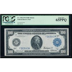 1914 $100 Atlanta Federal Reserve Note PCGS 65PPQ