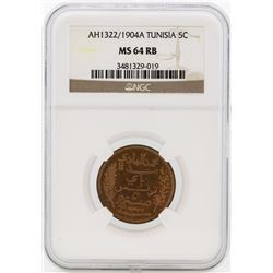 Africa Tunisia AH1322/1904A 5 Centimes Coin NGC MS64RB