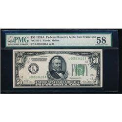 1928A $50 San Francisco Federal Reserve Note PMG 58