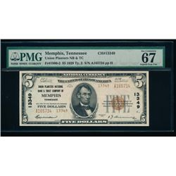 1929 $5 Memphis National Bank Note PMG 67EPQ