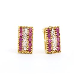 Plated 18KT Yellow Gold 1.21ctw Ruby and Diamond Earrings