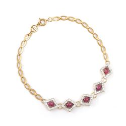Plated 18KT Yellow Gold 3.25ctw Ruby and Diamond Bracelet