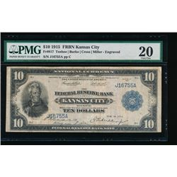 1915 $10 Kansas City Federal Reserve Bank Note PMG 20