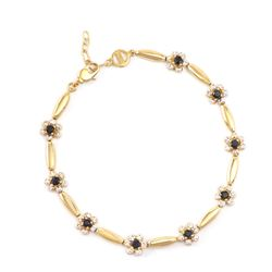 Plated 18KT Yellow Gold 1.25ctw Black Sapphire and Diamond Bracelet