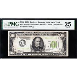 1934 $500 New York Federal Reserve Note PMG 25