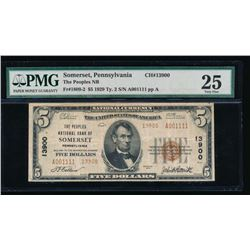 1929 $5 Somerset PA National Bank Note PMG 25