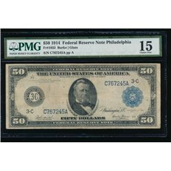1914 $50 Philadelphia Federal Reserve Note PMG 15