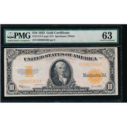 1922 $10 Gold Certificate PMG 63