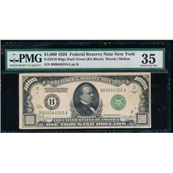 1928 $1000 New York Federal Reserve Note PMG 35