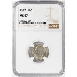 1947 Roosevelt Dime Coin NGC MS67