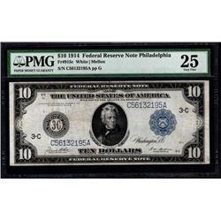 1914 $10 Philadelphia Federal Reserve Note PMG 25