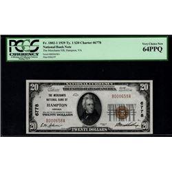 1929 $20 Hampton National Bank Note PCGS 64PPQ