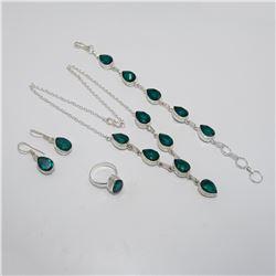 Gorgeous 4 Piece Emerald Jewelry Set