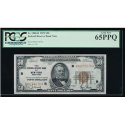 1929 $50 New York Federal Reserve Bank Note PCGS 65PPQ