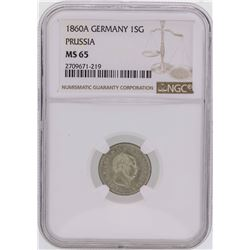1860A Germany 1 Silber Groschen Prussia Coin NGC MS65