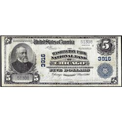 1902 PB $5 Washington Park NB of Chicago, IL CH# 3916 National Currency Note