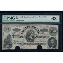 1863 $100 Confederate States of America Note PMG 63