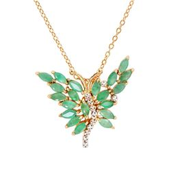 Plated 18KT Yellow Gold 3.50ctw Emerald and Diamond Pendant with Chain