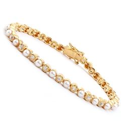 Plated 18KT Yellow Gold 8.05ctw Pearl and Diamond Bracelet