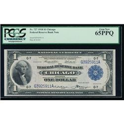 1918 $1 Chicago Federal Reserve Note PCGS 65PPQ