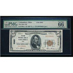 1929 $5 Columbus National Bank Note PMG 66EPQ
