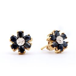 Plated 18KT Yellow Gold 3.05ctw Black Sapphire and Diamond Earrings